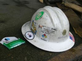 Hardhat on loading dock, Southeast industrial district.