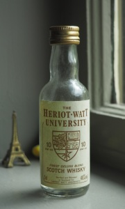 A (very old) sample bottle of Heriot-Watt Univ. whisky