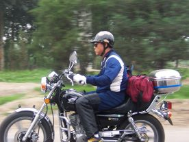 Cool cyclist outside Beijing, 2003