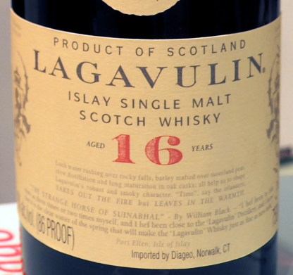 Lagavulin's Label is old school. The paper and ink even look old.