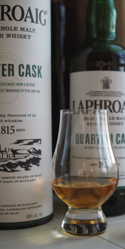 Laphroaig's Quarter Cask is actually a bit lighter in color than in this shot (another cloudy day in Portland).